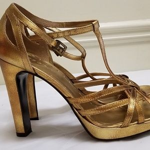 BCBG Heels shoes strappy Gold